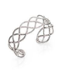 John Hardy | Metallic Pave Diamond Sterling Silver Braided Cuff Bracelet | Lyst