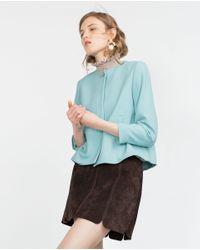 Zara | Blue Crepe Blazer | Lyst