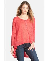 Lily White - Red High/low Henley - Lyst