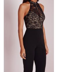 Missguided - Lace Sleeve High Neck Jumpsuit Black - Lyst