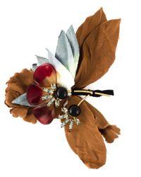 Marni - Brown Floral Brooch - Lyst