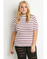 Forever 21 | Purple Plus Size Striped Turtleneck Top | Lyst