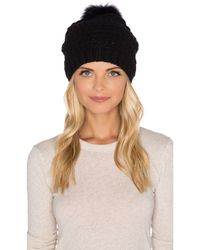 Diane von Furstenberg | Black Chunky Hat With Fox Fur Pom-pom | Lyst