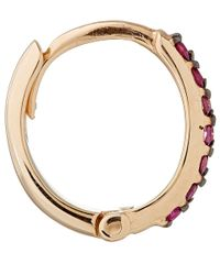 Kismet by Milka - Pink Rose Gold And Ruby Mini Hoops - Lyst