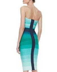 Hervé Léger | Blue Ombre Strapless Bandage Dress | Lyst