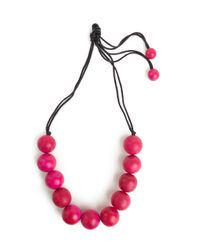 Natori | Pink Large Wood Bead Necklace | Lyst