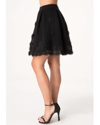 Bebe | Black Applique Flower Skirt | Lyst