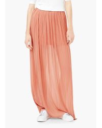 Mango - Orange Pleated Long Skirt - Lyst
