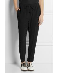 Alexander Wang | Black Drawstring Crepe Tapered Pants | Lyst