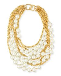Kenneth Jay Lane | Metallic Multistrand Simulated-pearl Necklace | Lyst