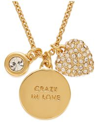 kate spade new york | Metallic Gold-tone Charm Pendant Necklace | Lyst