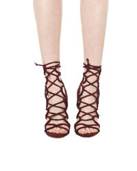 AKIRA | Purple Lace Up Heeled Sandals - Wine Suede | Lyst