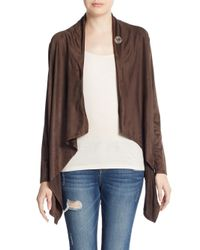Bobeau - Brown Faux Suede Asymmetrical Jacket - Lyst