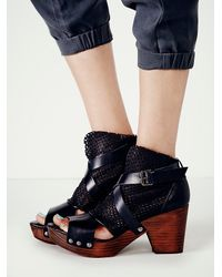 Free People | Black Rendering Suede Clog | Lyst