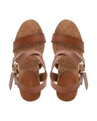 Dune | Brown Grainne Leather And Cork Wedge Sandals | Lyst