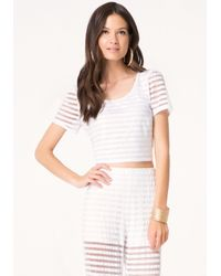 Bebe | White Mesh Striped Crop Tee | Lyst