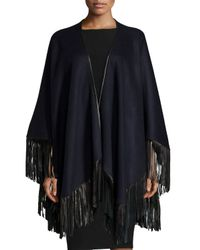 Sofia Cashmere | Blue Cashmere Leather-fringe Cape | Lyst