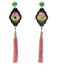 Anna E Alex - Pink Flamingo Safari Deco Wooden Earrings - Lyst