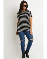 Forever 21 | White Plus Size Contrast-trim Striped Tee | Lyst