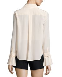 Chloé - Pink Ruffled Tie-front Blouse - Lyst