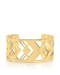 Tory Burch | Metallic Chevron Fret Cuff | Lyst