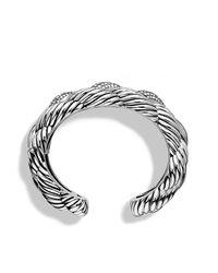 David Yurman - Metallic Woven Cable Wide Cuff With Diamonds - Lyst