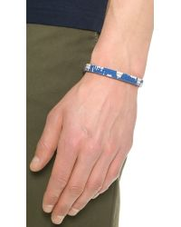 Caputo & Co. - Blue Reversible Ikat Leather Bracelet for Men - Lyst
