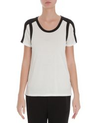 Vince - White Colorblock Scoop Neck Tee - Lyst