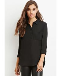 Forever 21 - Black Boxy Pocket Shirt - Lyst