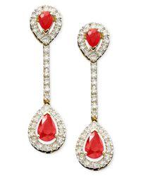 Macy's | Metallic 14k Gold Ruby (1-3/8 Ct. T.w.) & Diamond (1/3 Ct. T.w.) Pear Drop Earrings | Lyst