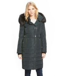 French Connection - Green Asymmetrical Down Coat With Faux Fur Trim - Lyst