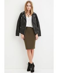 Forever 21 | Green Stretch-knit Pencil Skirt | Lyst