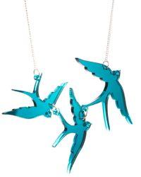 Tatty Devine - Blue Swallow Necklace - Lyst