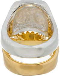 Undercover   Metallic Silver and Gold Twinned Skull Ring Set for Men   Lyst