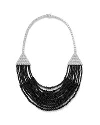 CZ by Kenneth Jay Lane | Black Draped Cubic Zirconia Deco Bib Necklace | Lyst