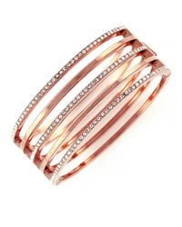 Vince Camuto | Pink Rose Goldtone And Crystal Stacked Bangle Bracelet | Lyst