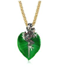 Roberto Cavalli | Green Black  Red Crystals and Golden Metal Frog Pendant Necklace | Lyst