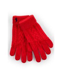 Ralph Lauren - Red Aran-knit Cotton Gloves - Lyst