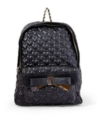 Betsey Johnson - Black Quilted Heart Backpack - Lyst
