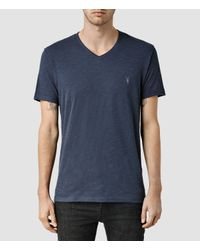 AllSaints | Blue Henning V-neck T-shirt for Men | Lyst