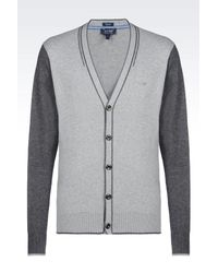 Armani Jeans - Gray Cardigan In Cotton Blend for Men - Lyst