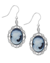 Macy's | Blue Sterling Silver Agate (12X16Mm) And White Topaz (1/5 Ct. T.W.) Cameo Earrings | Lyst