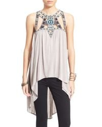 Free People | Gray Embellished Tank | Lyst