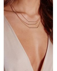 Missguided | Metallic Simple Layered Bar Necklace | Lyst