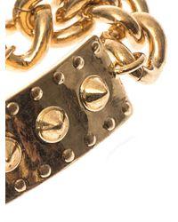 Alexander McQueen - Metallic Studded-Plate And Chain Bracelet - Lyst