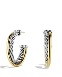 David Yurman - Metallic Crossover Small Hoop Earrings With Gold - Lyst