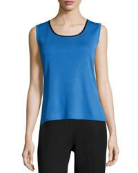 Ming Wang - Blue Contrast-trim Scoop-neck Knit Tank - Lyst