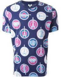 KENZO | Blue Landmarks Print T-Shirt for Men | Lyst