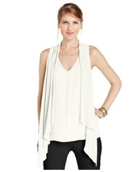 Karen Kane | White Draped Sleeveless V-neck Blouse | Lyst
