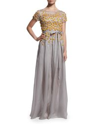 Jenny Packham - Gray Floral-Appliqued Silk Gown - Lyst